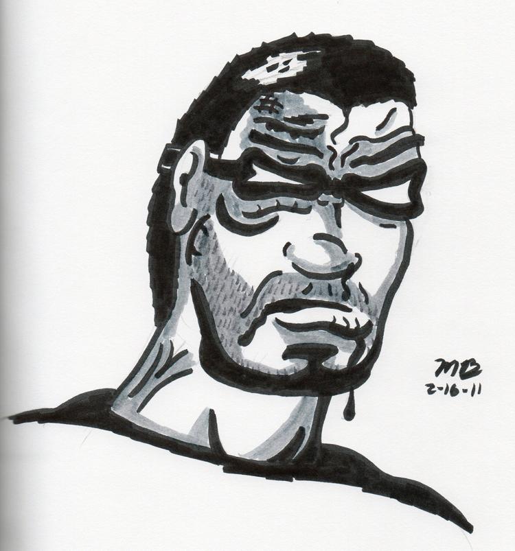 Black Snow face pen brush sketch