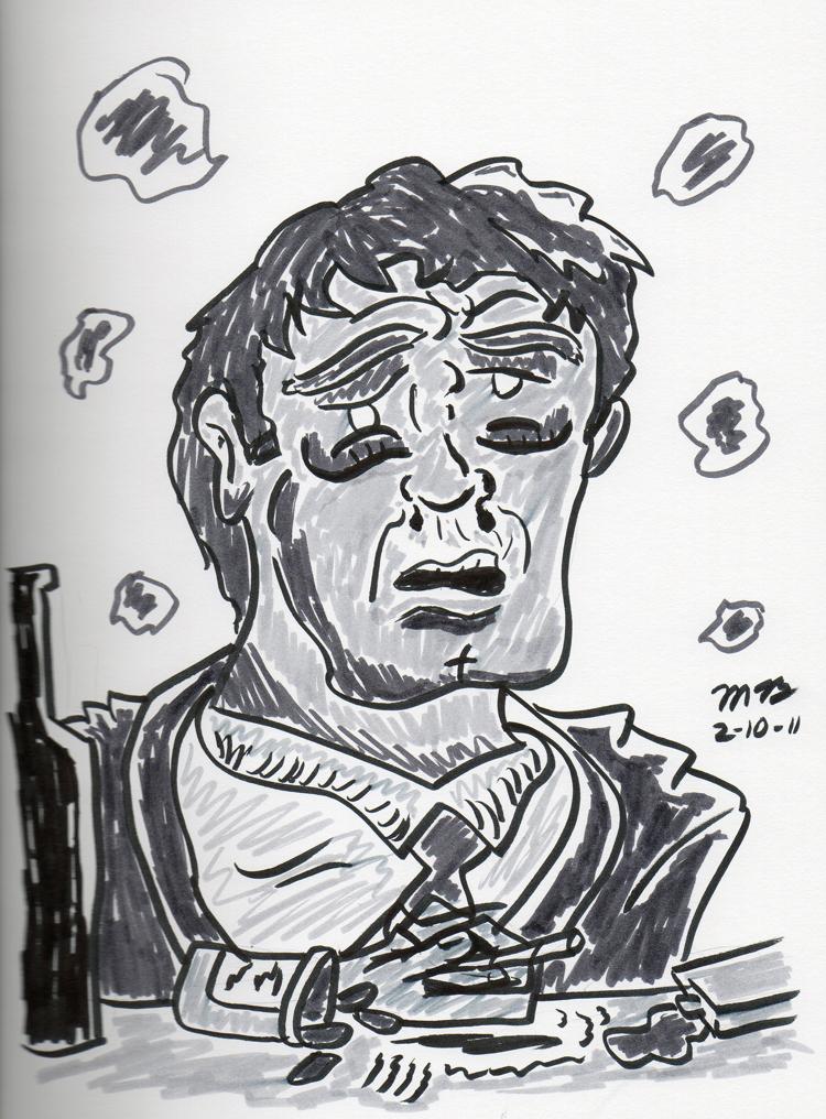 pen brush sketch of Daniel