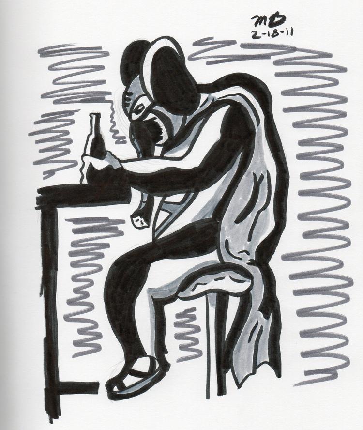 pen brush sketch of sad Elephant Boy