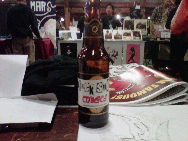 A bottle of Black Snow beer