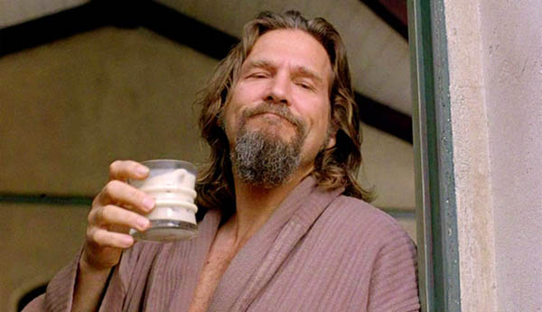 The Dude drinking a White Russian