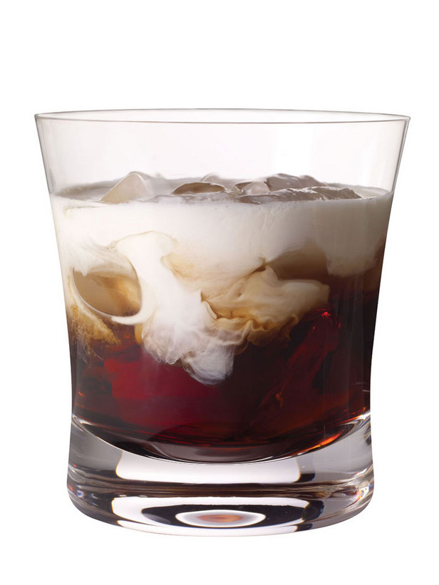 A White Russian is a sweet cocktail classically made with vodka, coffee liqueur (e.g., Kahlúa or Tia Maria), and cream served with ice in an Old Fashioned glass.
