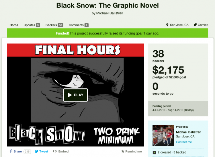 Black Snow's Kickstarter