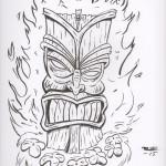 Flaming Tiki drawing