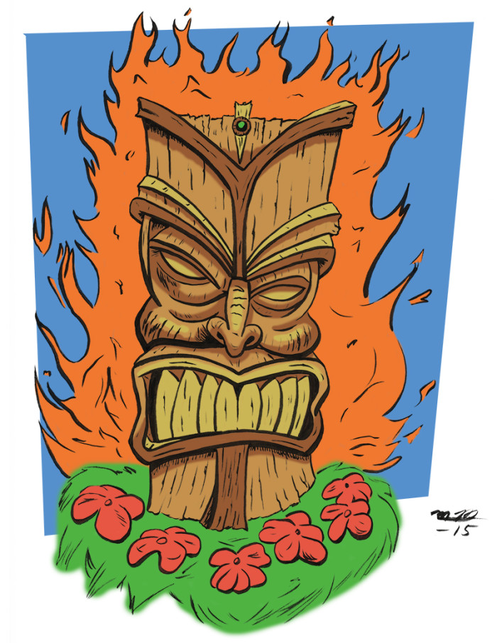 Flaming Tiki drawing in color