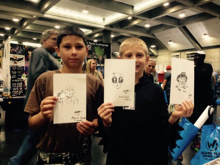 happy kids with drawings