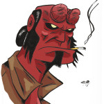 Hellboy drawing in color