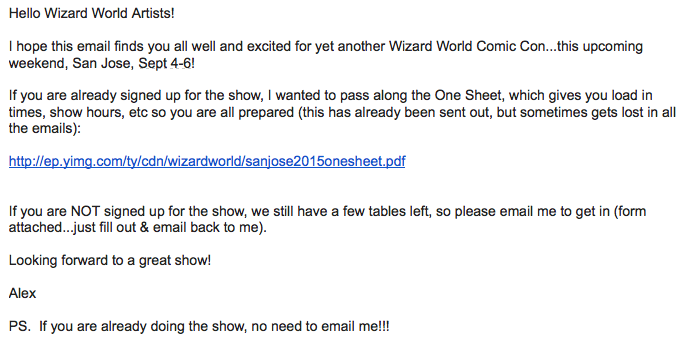 Wizard World San Jose email