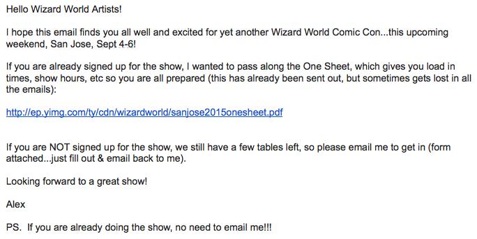 Wizard World San Jose email