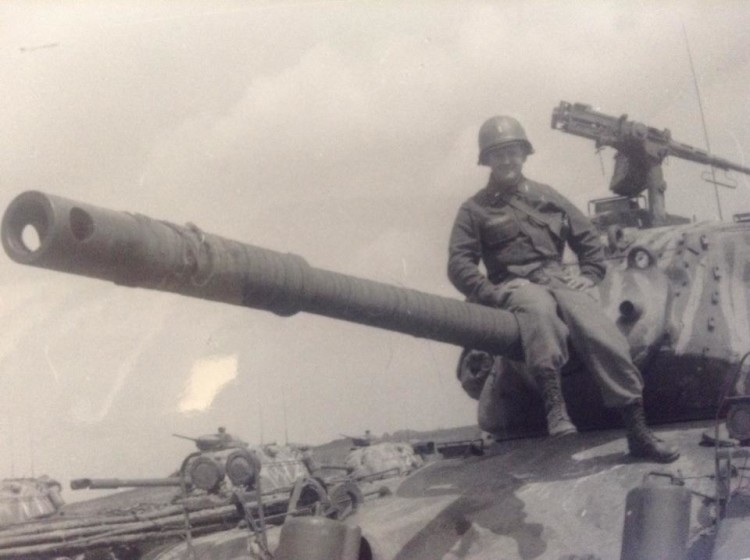 Leo Balistreri on a tank in Germany