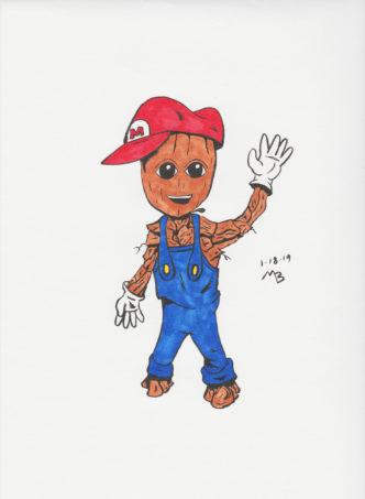 Baby Groot dressed as Super Mario