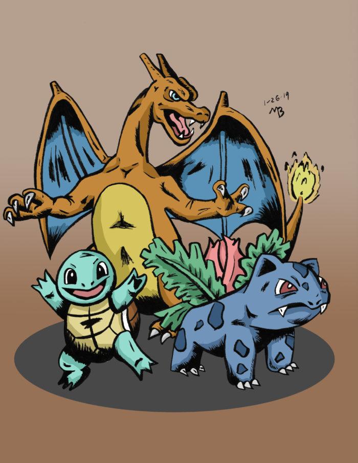 Pokemon, Squirtle, Ivysaur, Charizard