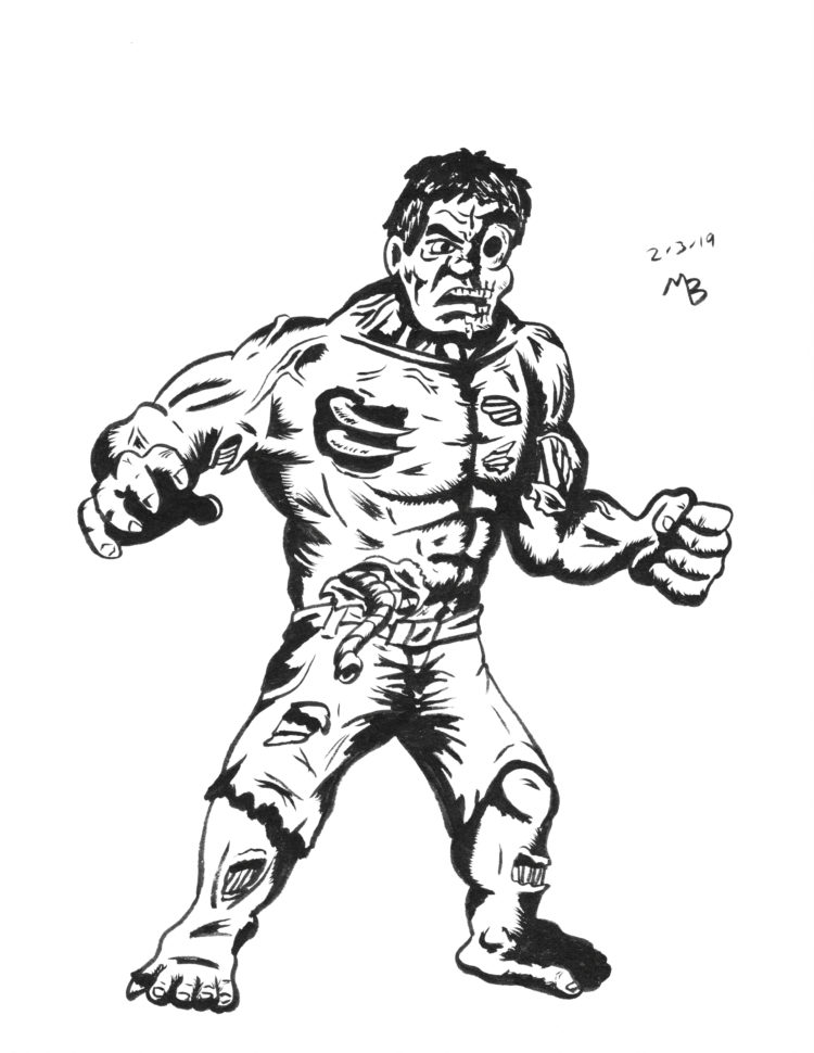 Zombie Hulk drawing