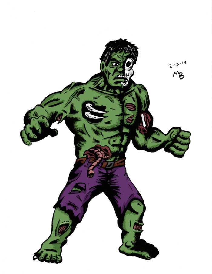 Zombie Hulk drawing in color
