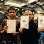 Kids with sketch cards