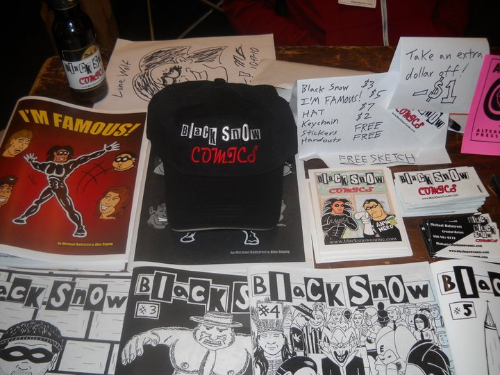 Black Snow Comics table