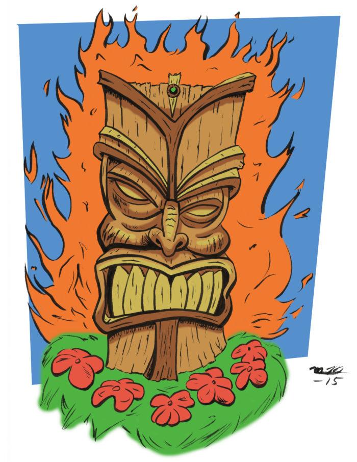 Flaming Tiki art print