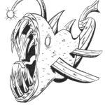 Deep Water Fish Monster b&w