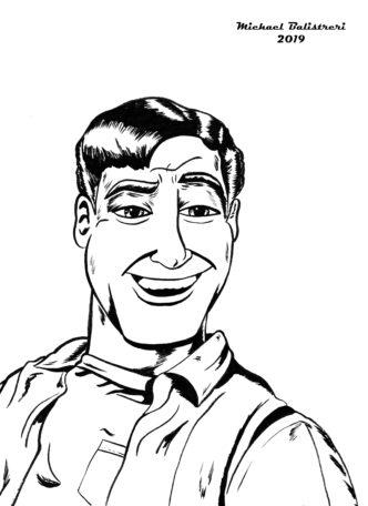 smiling man character sketch