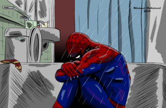 Spider-man crying in the shower