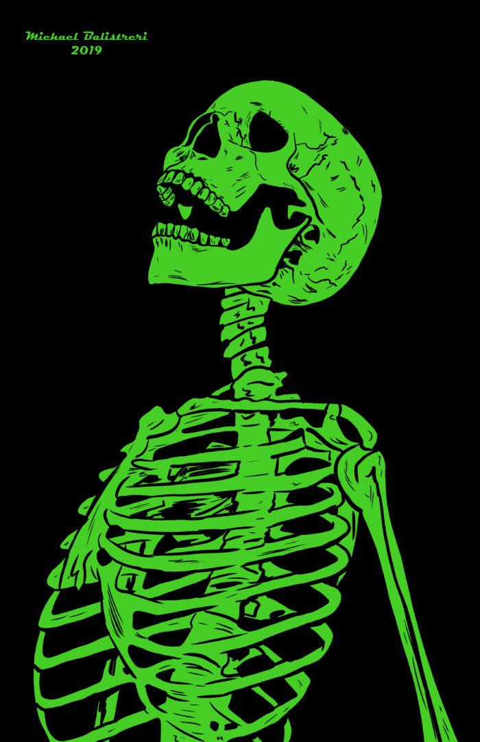 neon green skeleton