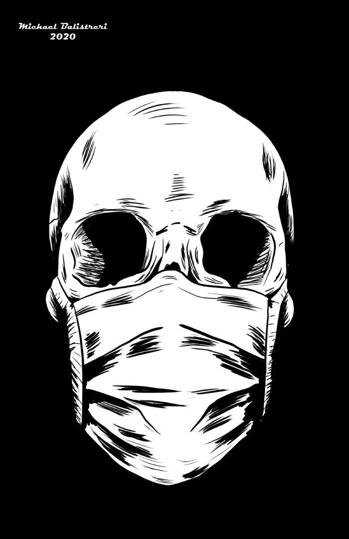 Skull Wearing Mask black and white